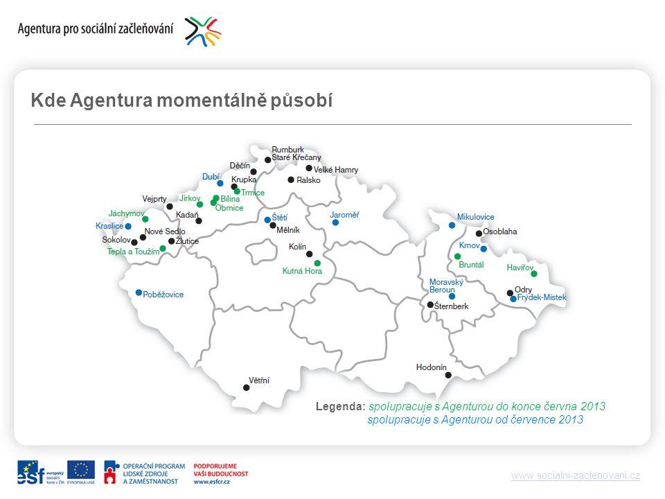 www.socialni-zaclenovani.cz Kde Agentura momentálně působí Legenda: spolupracuje s Agenturou do konce června 2013 spolupracuje s Agenturou od července 2013
