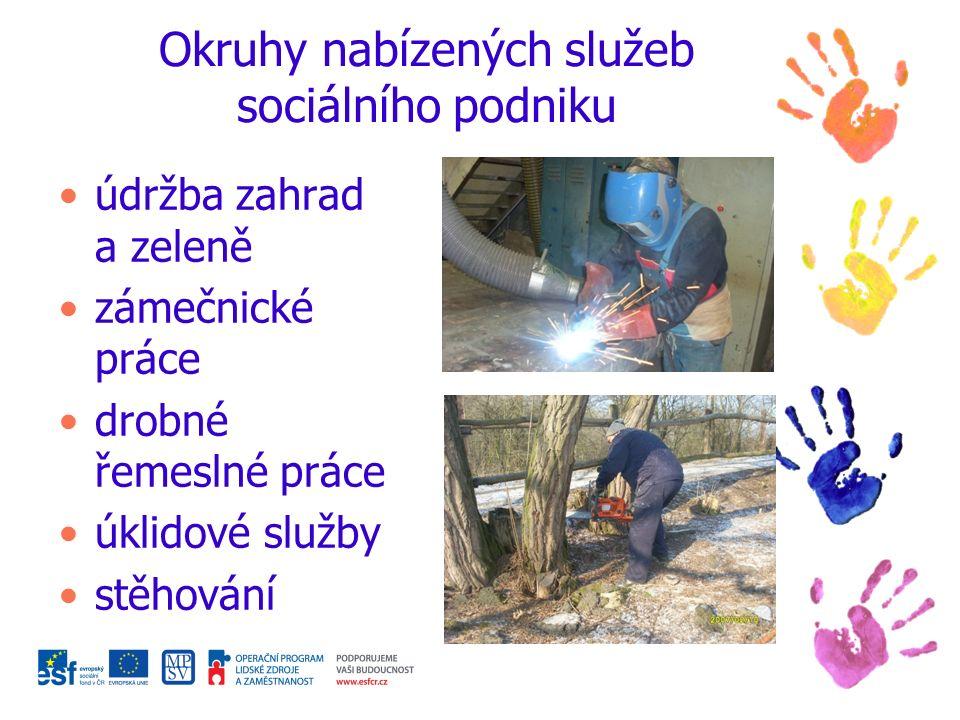 Okruhy nabízených služeb sociálního podniku údržba zahrad a zeleně zámečnické práce drobné řemeslné práce úklidové služby stěhování