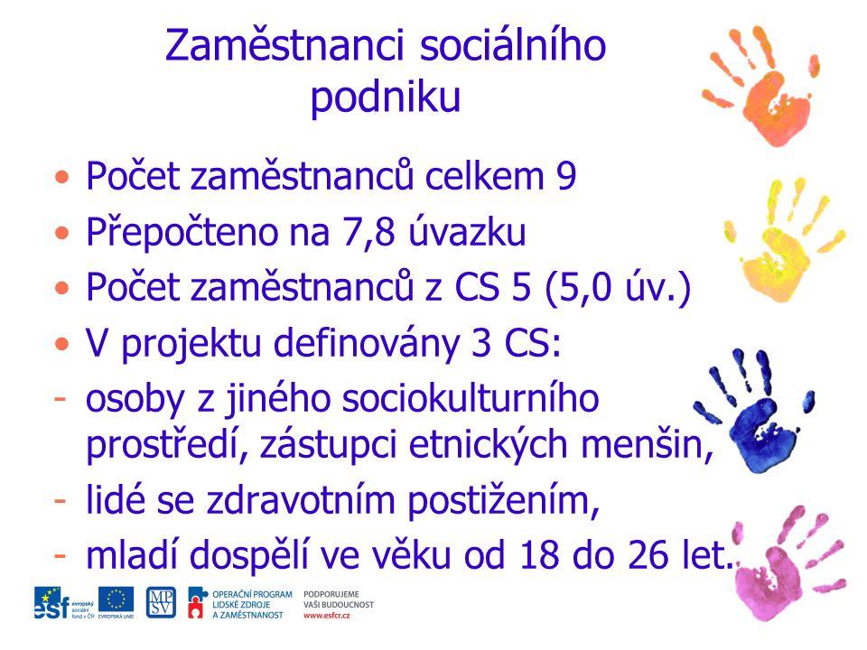 Zaměstnanci sociálního podniku Počet zaměstnanců celkem 9 Přepočteno na 7,8 úvazku Počet zaměstnanců z CS 5 (5,0 úv.) V projektu definovány 3 CS: -osoby z jiného sociokulturního prostředí, zástupci etnických menšin, -lidé se zdravotním postižením, -mladí dospělí ve věku od 18 do 26 let.