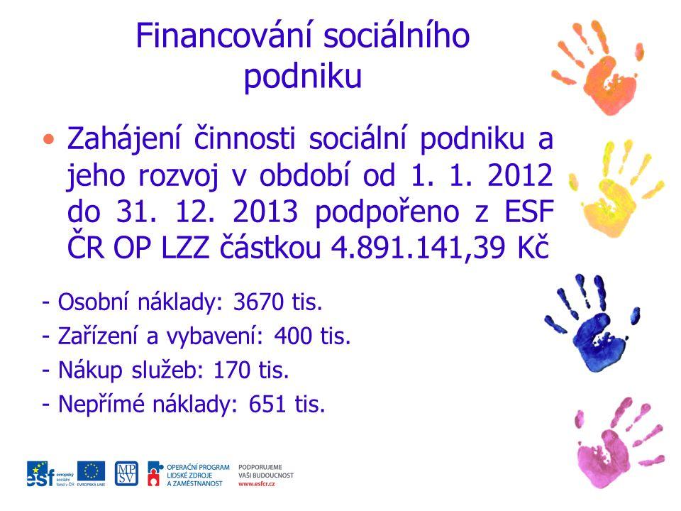 Financování sociálního podniku Zahájení činnosti sociální podniku a jeho rozvoj v období od 1.