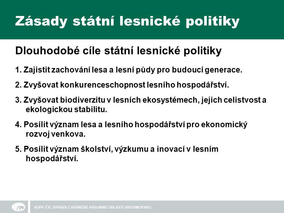 Zásady státní lesnické politiky Dlouhodobé cíle státní lesnické politiky 1.