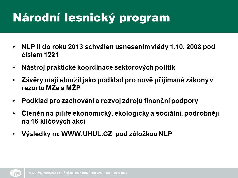 Národní lesnický program NLP II do roku 2013 schválen usnesením vlády 1.10.