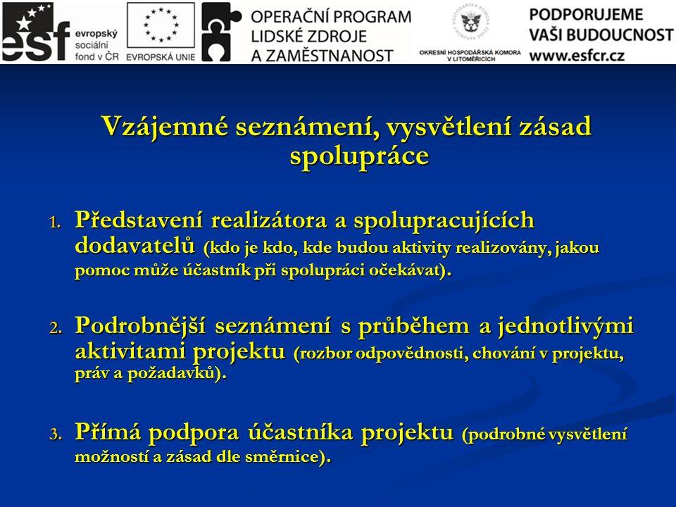 Vzájemné seznámení, vysvětlení zásad spolupráce 1. Představení realizátora a spolupracujících dodavatelů (kdo je kdo, kde budou aktivity realizovány,