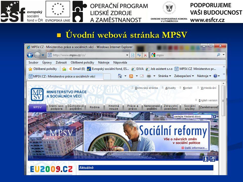Úvodní webová stránka MPSV Úvodní webová stránka MPSV