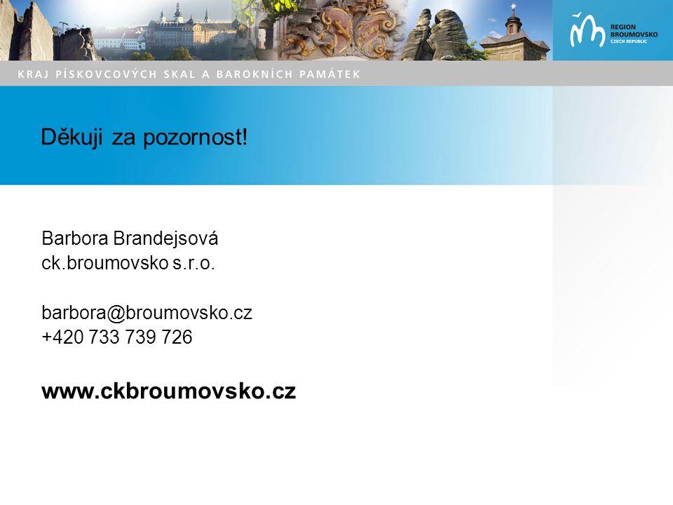 Děkuji za pozornost. Barbora Brandejsová ck.broumovsko s.r.o.