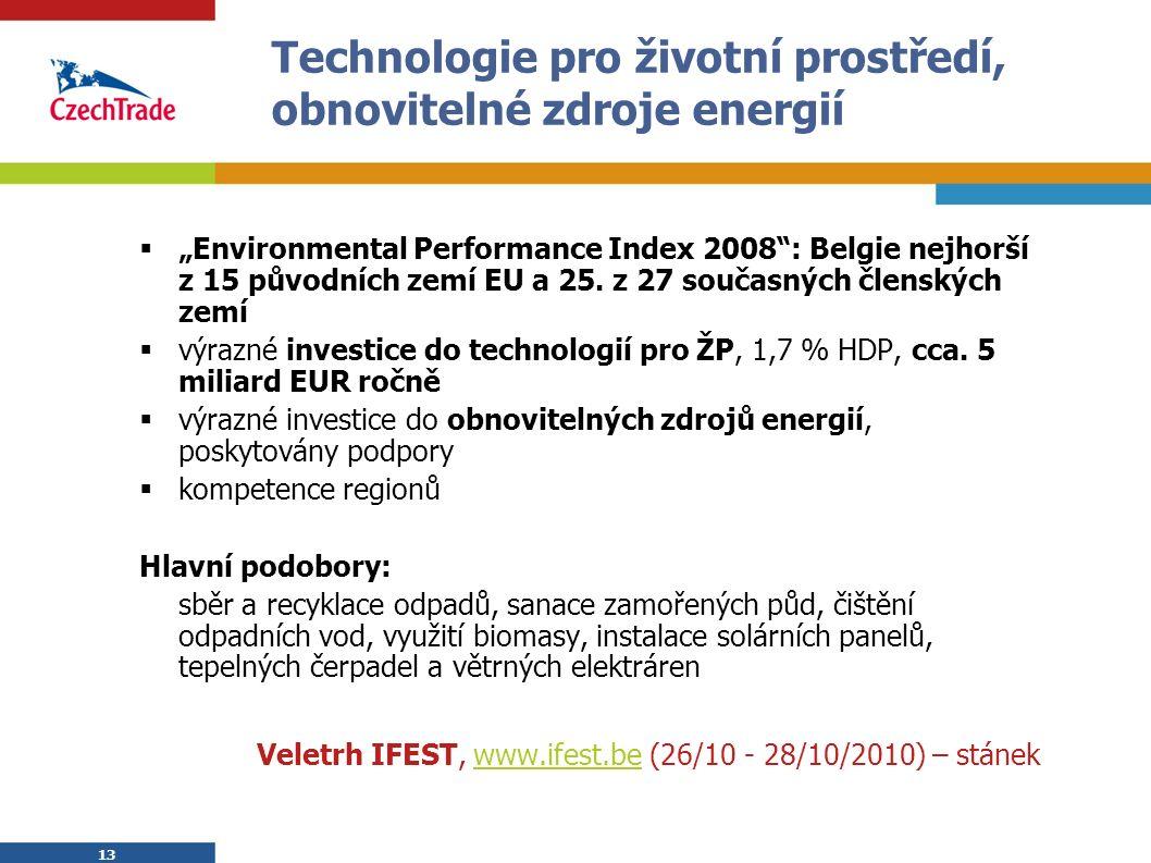 """13 Technologie pro životní prostředí, obnovitelné zdroje energií  """"Environmental Performance Index 2008 : Belgie nejhorší z 15 původních zemí EU a 25."""