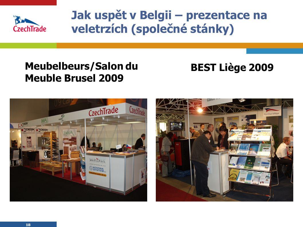 18 Jak uspět v Belgii – prezentace na veletrzích (společné stánky) Meubelbeurs/Salon du Meuble Brusel 2009 BEST Liège 2009