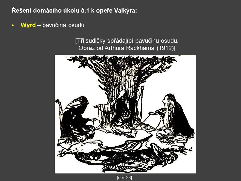 Řešení domácího úkolu č.1 k opeře Valkýra: Wyrd – pavučina osudu [Tři sudičky spřádající pavučinu osudu.
