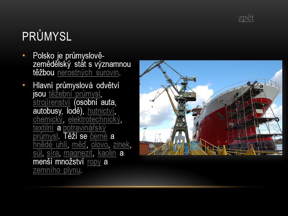 Polsko je průmyslově- zemědělský stát s významnou těžbou nerostných surovin.nerostných surovin Hlavní průmyslová odvětví jsou těžební průmysl, strojírenství (osobní auta, autobusy, lodě), hutnictví, chemický, elektrotechnický, textilní a potravinářský průmysl.
