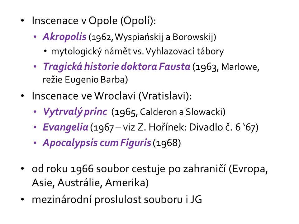 Inscenace v Opole (Opolí): Akropolis (1962, Wyspiańskij a Borowskij) mytologický námět vs.