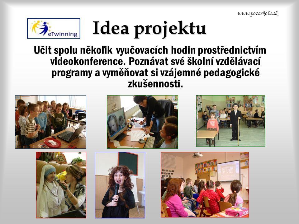 Idea projektu Učit spolu někoľik vyučovacích hodin prostřednictvím videokonference.