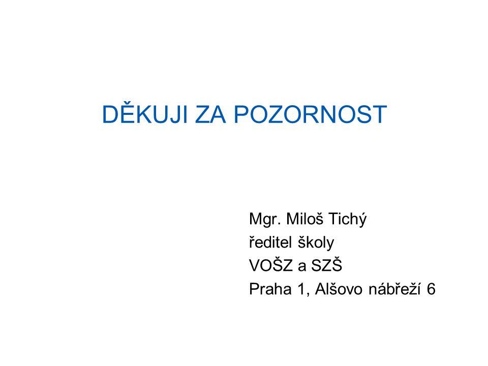 DĚKUJI ZA POZORNOST Mgr. Miloš Tichý ředitel školy VOŠZ a SZŠ Praha 1, Alšovo nábřeží 6