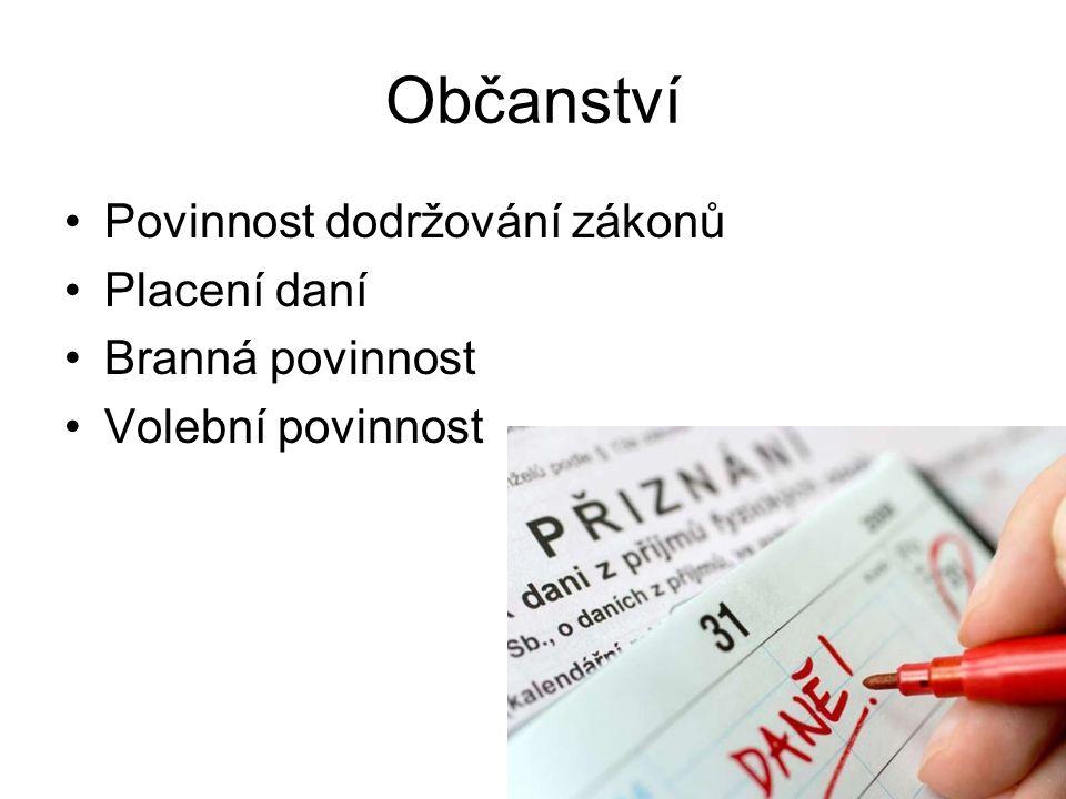 18 Občanství Povinnost dodržování zákonů Placení daní Branná povinnost Volební povinnost