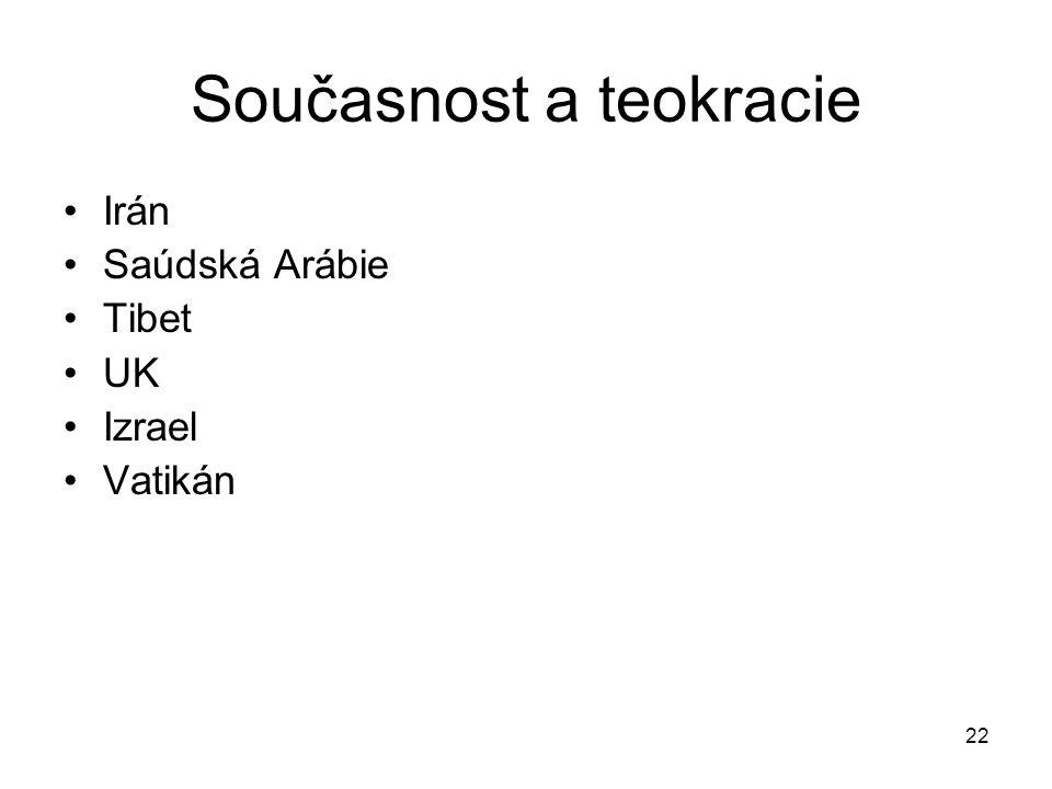 22 Současnost a teokracie Irán Saúdská Arábie Tibet UK Izrael Vatikán