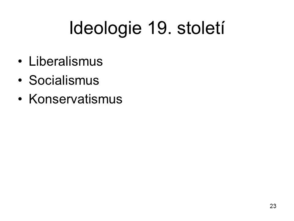 23 Ideologie 19. století Liberalismus Socialismus Konservatismus
