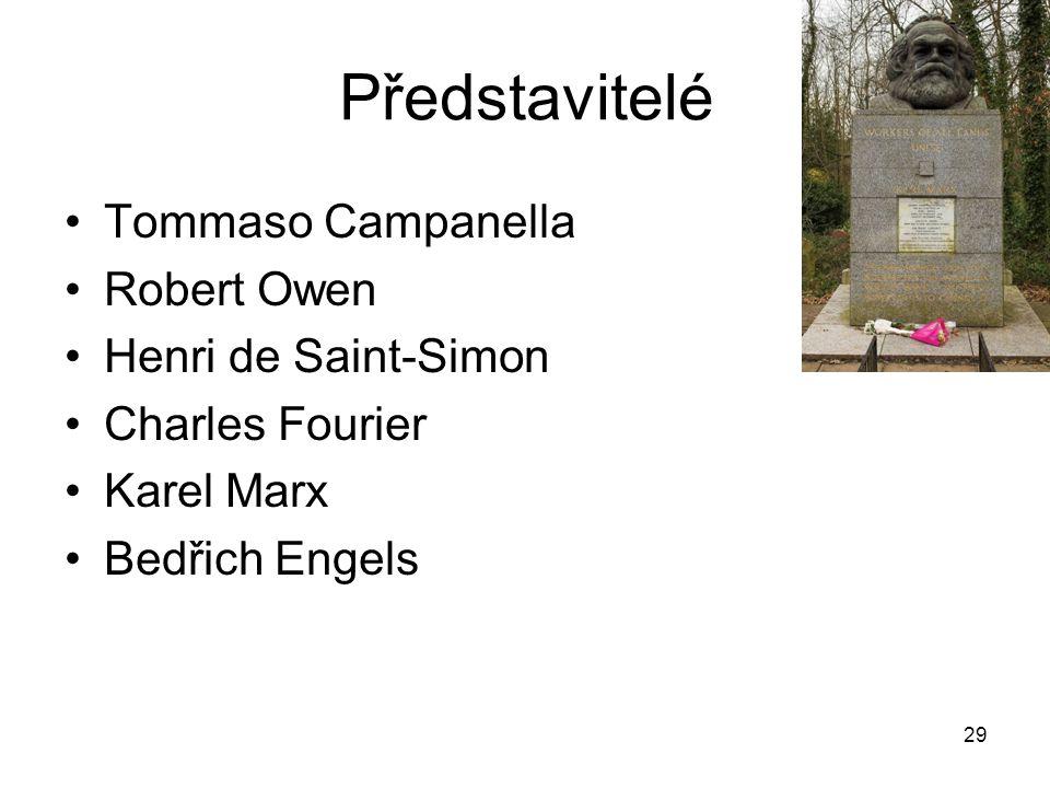 29 Představitelé Tommaso Campanella Robert Owen Henri de Saint-Simon Charles Fourier Karel Marx Bedřich Engels