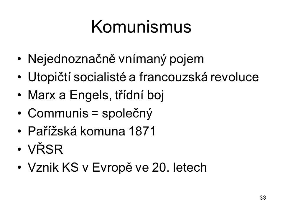 33 Komunismus Nejednoznačně vnímaný pojem Utopičtí socialisté a francouzská revoluce Marx a Engels, třídní boj Communis = společný Pařížská komuna 1871 VŘSR Vznik KS v Evropě ve 20.