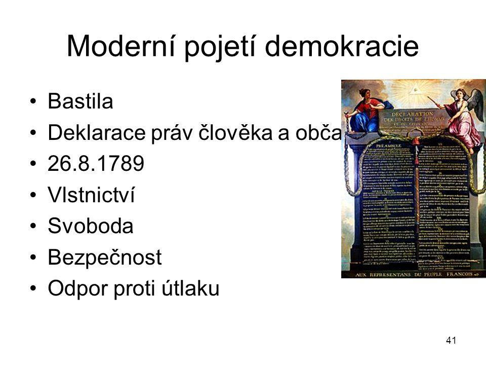 41 Moderní pojetí demokracie Bastila Deklarace práv člověka a občana 26.8.1789 Vlstnictví Svoboda Bezpečnost Odpor proti útlaku