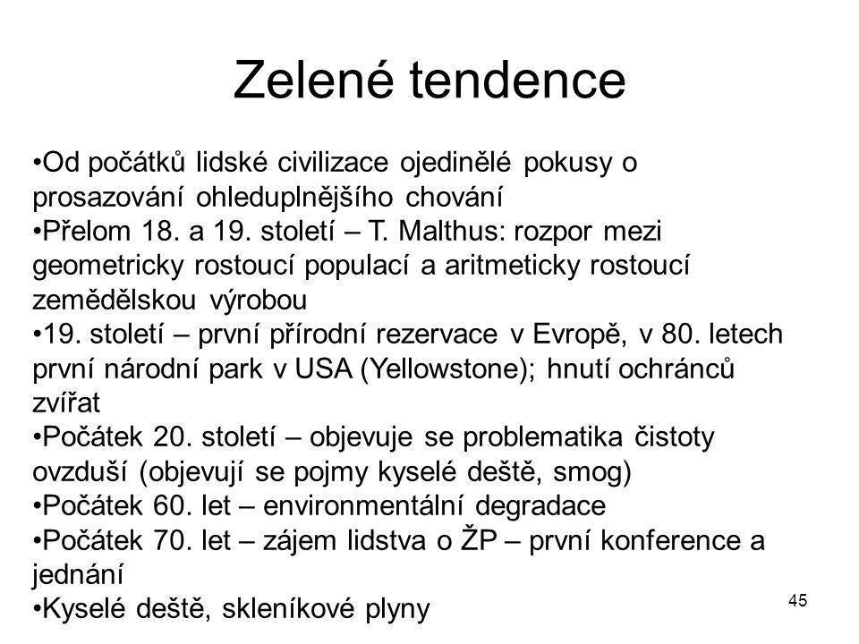 45 Zelené tendence Od počátků lidské civilizace ojedinělé pokusy o prosazování ohleduplnějšího chování Přelom 18.