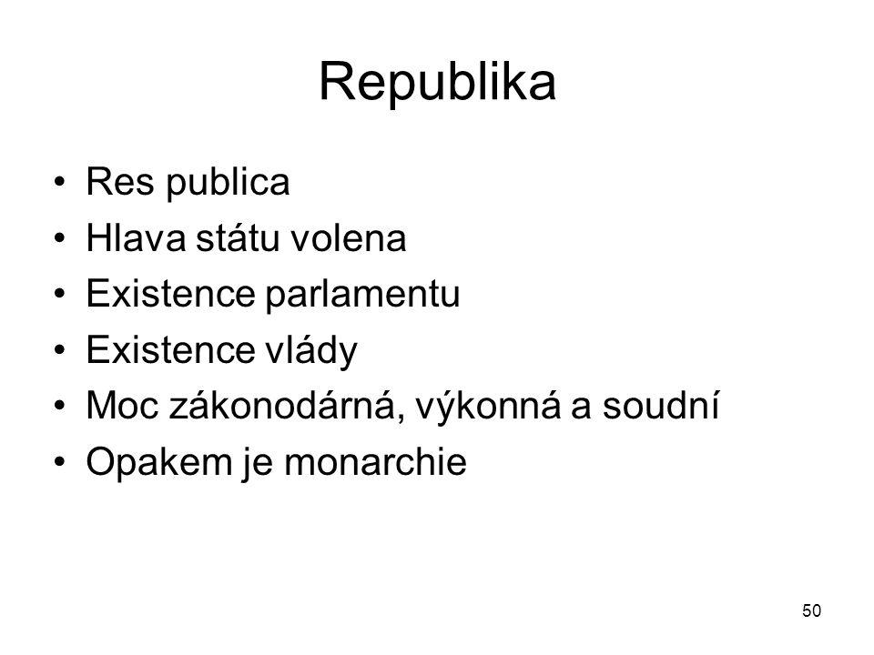 50 Republika Res publica Hlava státu volena Existence parlamentu Existence vlády Moc zákonodárná, výkonná a soudní Opakem je monarchie