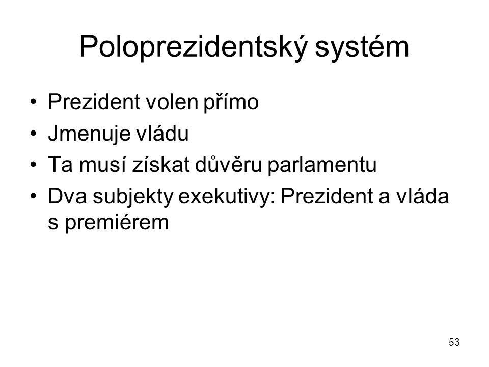 53 Poloprezidentský systém Prezident volen přímo Jmenuje vládu Ta musí získat důvěru parlamentu Dva subjekty exekutivy: Prezident a vláda s premiérem