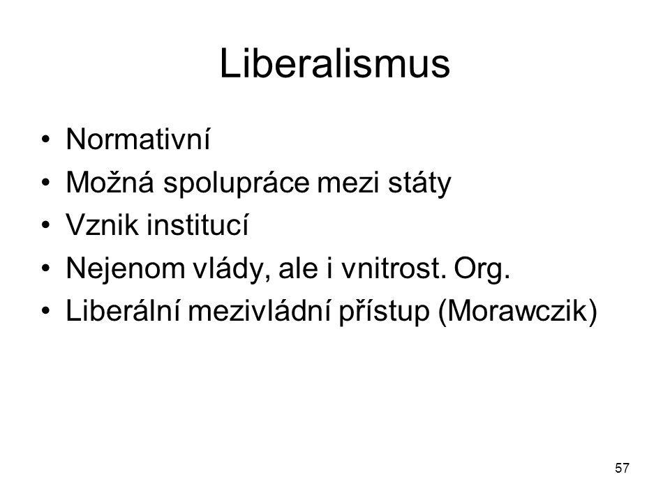 57 Liberalismus Normativní Možná spolupráce mezi státy Vznik institucí Nejenom vlády, ale i vnitrost.