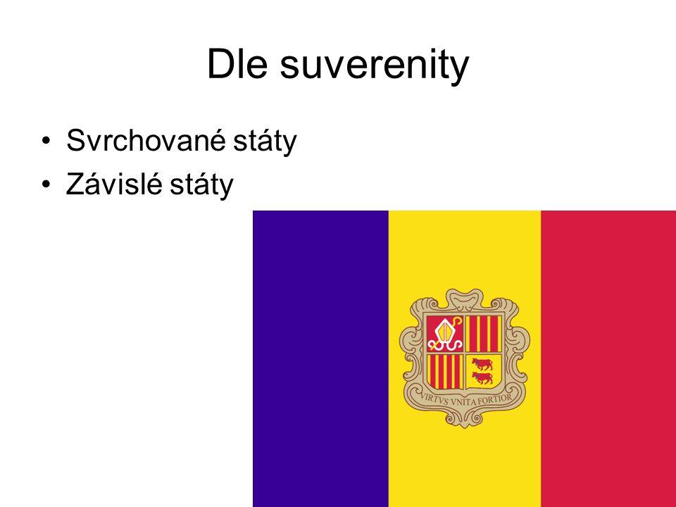 9 Dle suverenity Svrchované státy Závislé státy
