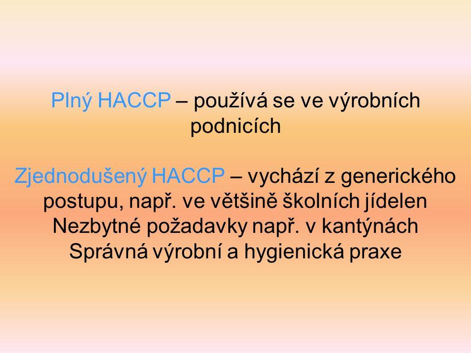Plný HACCP – používá se ve výrobních podnicích Zjednodušený HACCP – vychází z generického postupu, např.