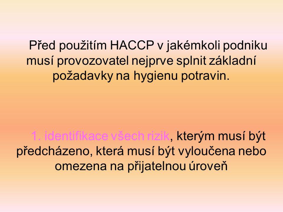 Před použitím HACCP v jakémkoli podniku musí provozovatel nejprve splnit základní požadavky na hygienu potravin. 1. identifikace všech rizik, kterým m