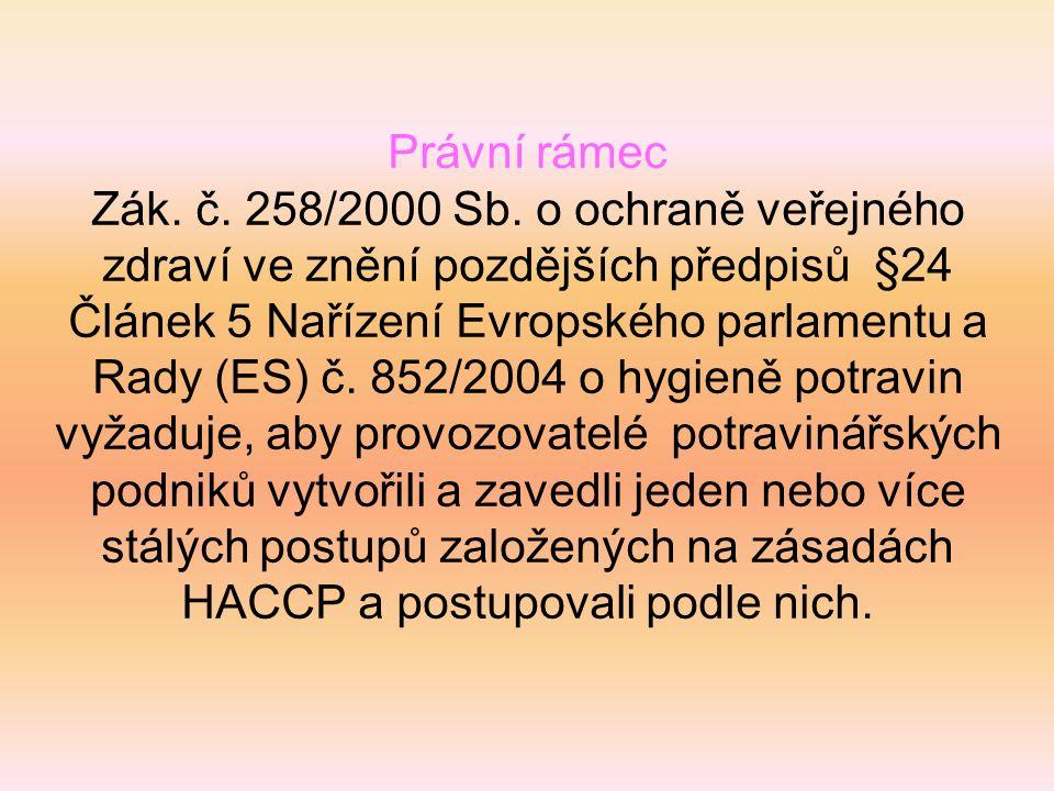 Právní rámec Zák. č. 258/2000 Sb. o ochraně veřejného zdraví ve znění pozdějších předpisů §24 Článek 5 Nařízení Evropského parlamentu a Rady (ES) č. 8