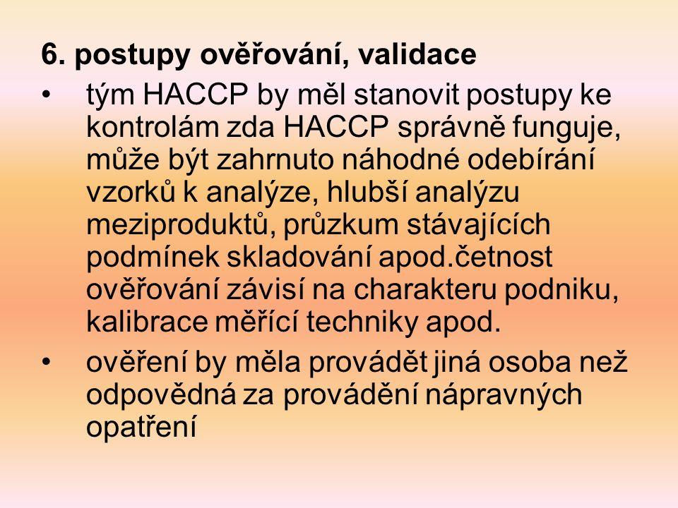 6. postupy ověřování, validace tým HACCP by měl stanovit postupy ke kontrolám zda HACCP správně funguje, může být zahrnuto náhodné odebírání vzorků k