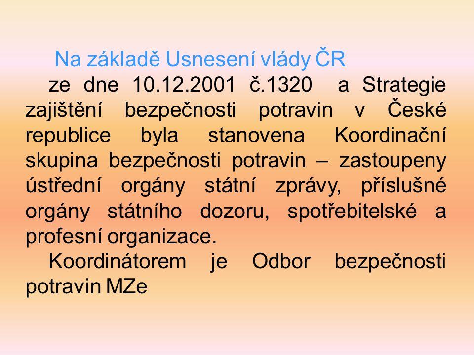 Na základě Usnesení vlády ČR ze dne 10.12.2001 č.1320 a Strategie zajištění bezpečnosti potravin v České republice byla stanovena Koordinační skupina bezpečnosti potravin – zastoupeny ústřední orgány státní zprávy, příslušné orgány státního dozoru, spotřebitelské a profesní organizace.