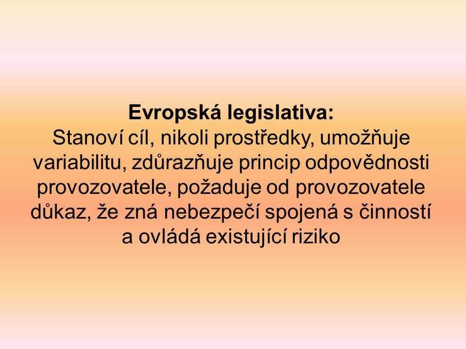 Evropská legislativa: Stanoví cíl, nikoli prostředky, umožňuje variabilitu, zdůrazňuje princip odpovědnosti provozovatele, požaduje od provozovatele důkaz, že zná nebezpečí spojená s činností a ovládá existující riziko