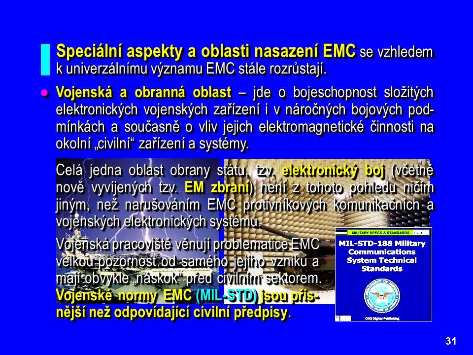 31 Speciální aspekty a oblasti nasazení EMC se vzhledem k univerzálnímu významu EMC stále rozrůstají.
