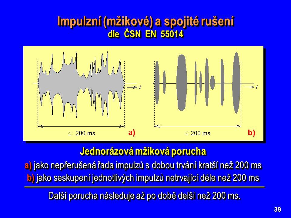 39 Impulzní (mžikové) a spojité rušení dle ČSN EN 55014 Impulzní (mžikové) a spojité rušení dle ČSN EN 55014 Jednorázová mžiková porucha b) jako seskupení jednotlivých impulzů netrvající déle než 200 ms a) jako nepřerušená řada impulzů s dobou trvání kratší než 200 ms Další porucha následuje až po době delší než 200 ms.