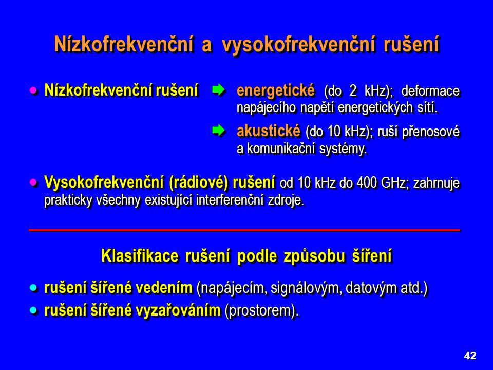 42 Nízkofrekvenční a vysokofrekvenční rušení  Nízkofrekvenční rušení  energetické (do 2 kHz); deformace napájecího napětí energetických sítí.