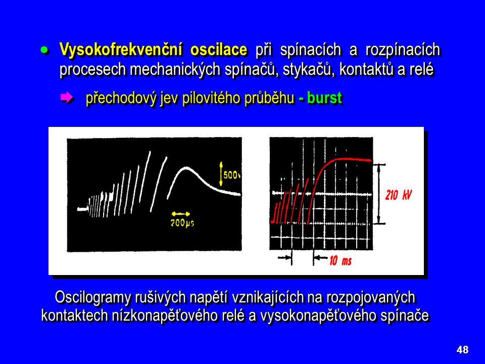 48 Oscilogramy rušivých napětí vznikajících na rozpojovaných kontaktech nízkonapěťového relé a vysokonapěťového spínače  Vysokofrekvenční oscilace při spínacích a rozpínacích procesech mechanických spínačů, stykačů, kontaktů a relé  přechodový jev pilovitého průběhu - burst