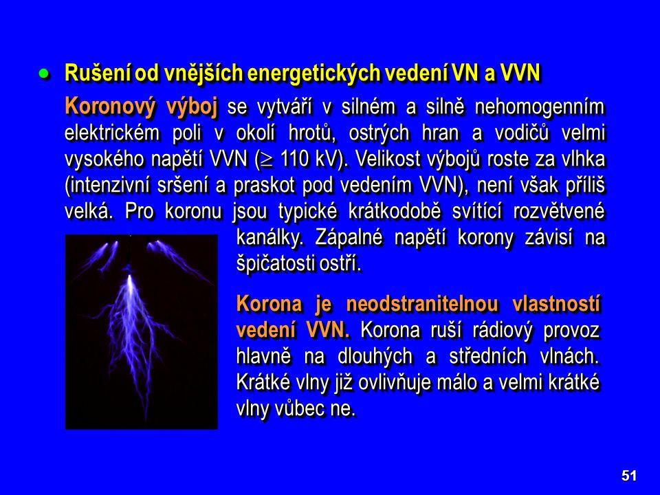  Rušení od vnějších energetických vedení VN a VVN Koronový výboj se vytváří v silném a silně nehomogenním elektrickém poli v okolí hrotů, ostrých hran a vodičů velmi vysokého napětí VVN (  110 kV).