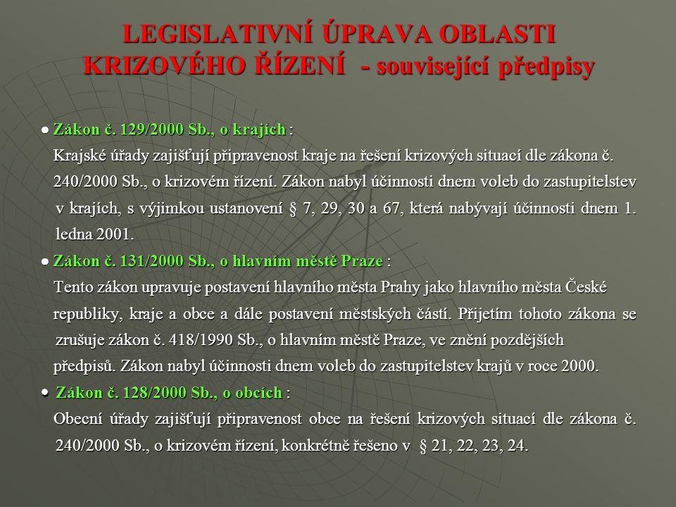 LEGISLATIVNÍ ÚPRAVA OBLASTI KRIZOVÉHO ŘÍZENÍ - související předpisy  Zákon č. 129/2000 Sb., o krajích : Krajské úřady zajišťují připravenost kraje na