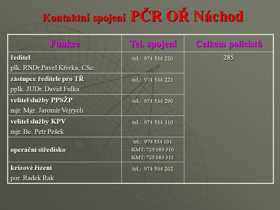 Kontaktní spojení PČR OŘ Náchod Funkce Tel. spojení Celkem policistů ředitel plk.