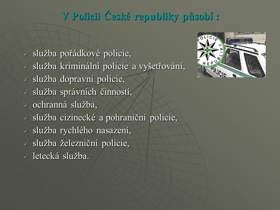 V Policii České republiky působí : služba pořádkové policie, služba pořádkové policie, služba kriminální policie a vyšetřování, služba kriminální poli