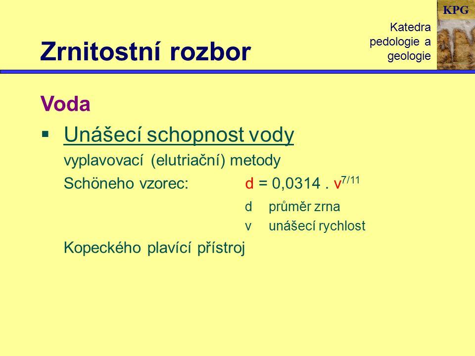 KPG Zrnitostní rozbor Katedra pedologie a geologie Voda  Unášecí schopnost vody vyplavovací (elutriační) metody Schöneho vzorec:d = 0,0314.
