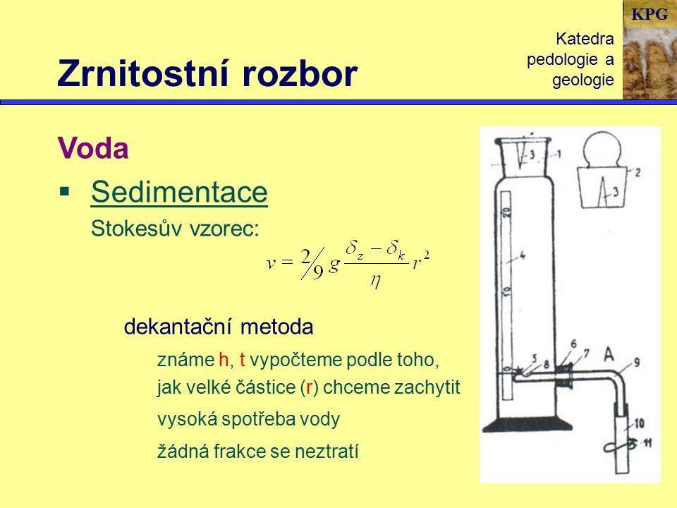 KPG Zrnitostní rozbor Katedra pedologie a geologie Voda  Sedimentace Stokesův vzorec: dekantační metoda známe h, t vypočteme podle toho, jak velké částice (r) chceme zachytit vysoká spotřeba vody žádná frakce se neztratí