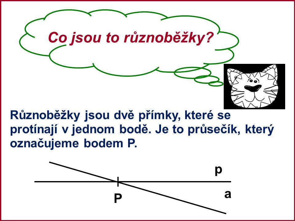Co jsou to různoběžky. Různoběžky jsou dvě přímky, které se protínají v jednom bodě.