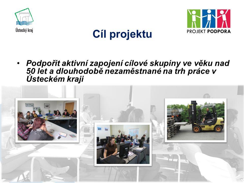 Cíl projektu Podpořit aktivní zapojení cílové skupiny ve věku nad 50 let a dlouhodobě nezaměstnané na trh práce v Ústeckém kraji