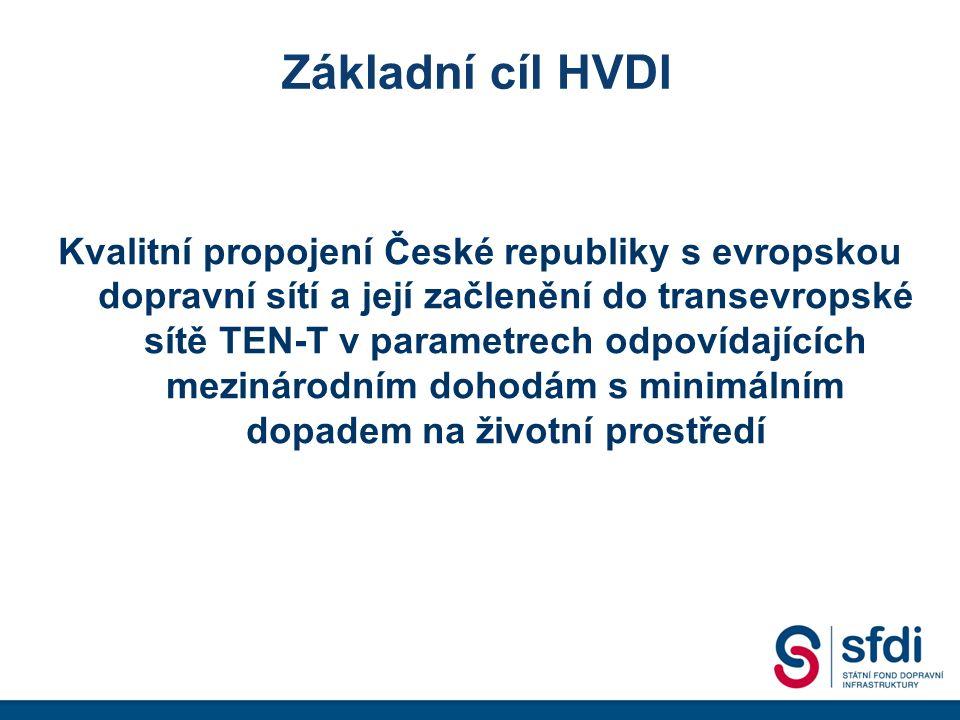 Základní cíl HVDI Kvalitní propojení České republiky s evropskou dopravní sítí a její začlenění do transevropské sítě TEN-T v parametrech odpovídajících mezinárodním dohodám s minimálním dopadem na životní prostředí