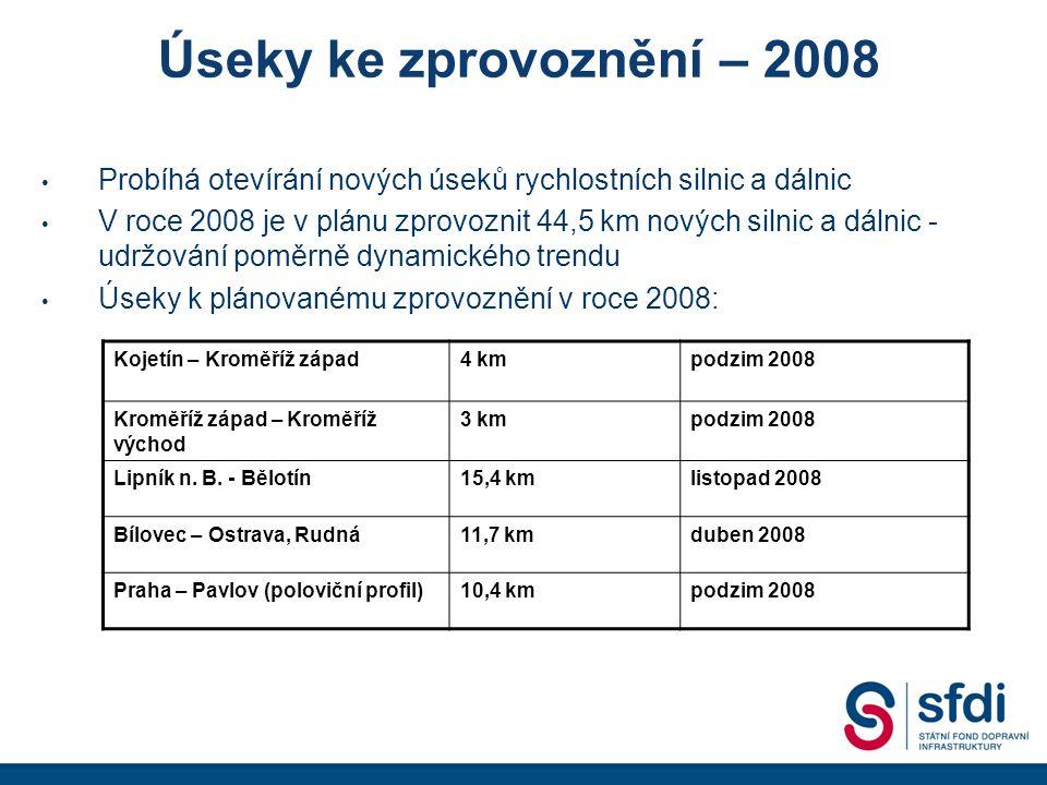 Úseky ke zprovoznění – 2008 Probíhá otevírání nových úseků rychlostních silnic a dálnic V roce 2008 je v plánu zprovoznit 44,5 km nových silnic a dálnic - udržování poměrně dynamického trendu Úseky k plánovanému zprovoznění v roce 2008: Kojetín – Kroměříž západ4 kmpodzim 2008 Kroměříž západ – Kroměříž východ 3 kmpodzim 2008 Lipník n.