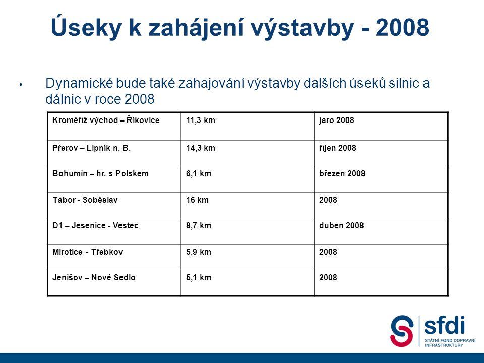 Úseky k zahájení výstavby - 2008 Dynamické bude také zahajování výstavby dalších úseků silnic a dálnic v roce 2008 Kroměříž východ – Říkovice11,3 kmjaro 2008 Přerov – Lipník n.