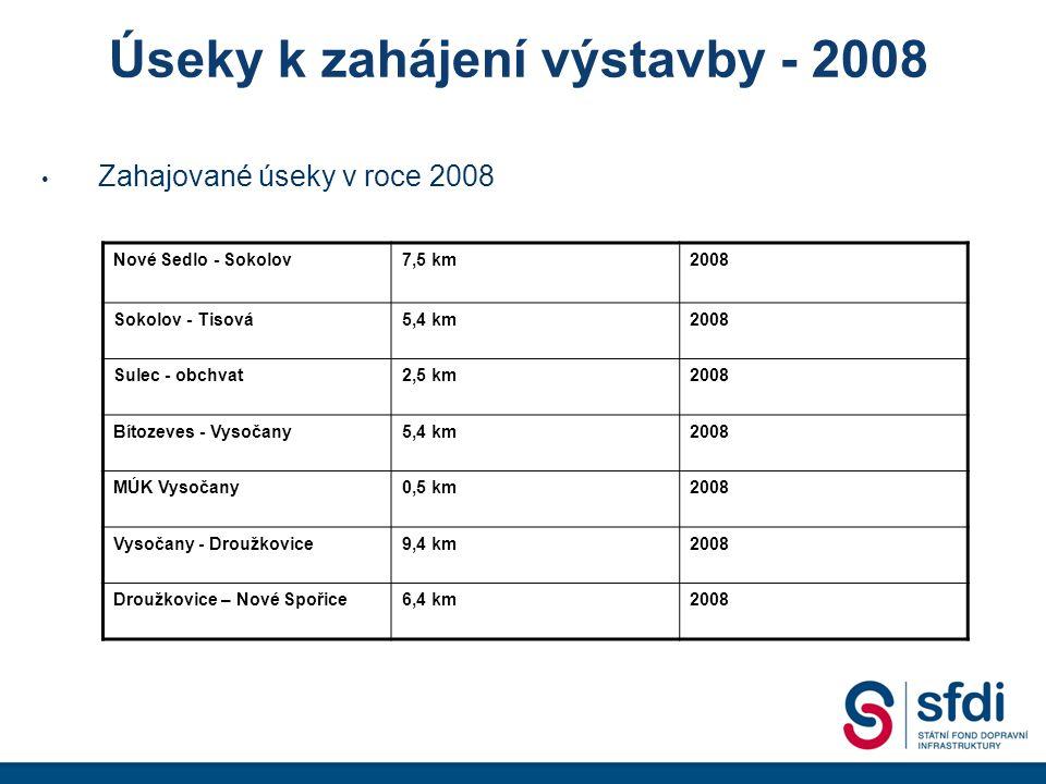 Úseky k zahájení výstavby - 2008 Zahajované úseky v roce 2008 Nové Sedlo - Sokolov7,5 km2008 Sokolov - Tisová5,4 km2008 Sulec - obchvat2,5 km2008 Bítozeves - Vysočany5,4 km2008 MÚK Vysočany0,5 km2008 Vysočany - Droužkovice9,4 km2008 Droužkovice – Nové Spořice6,4 km2008