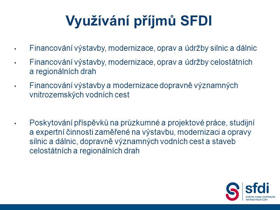 Využívání příjmů SFDI Financování výstavby, modernizace, oprav a údržby silnic a dálnic Financování výstavby, modernizace, oprav a údržby celostátních a regionálních drah Financování výstavby a modernizace dopravně významných vnitrozemských vodních cest Poskytování příspěvků na průzkumné a projektové práce, studijní a expertní činnosti zaměřené na výstavbu, modernizaci a opravy silnic a dálnic, dopravně významných vodních cest a staveb celostátních a regionálních drah